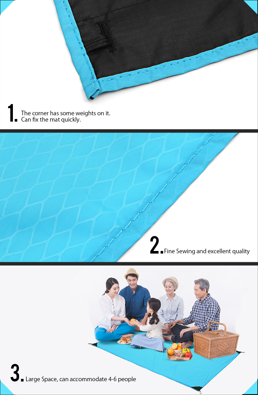 Xmund XD-PA2 Outdoor Picnic Mat Waterproof Folding Camping Pad Baby Climb Blanket With 4 Tent Nails
