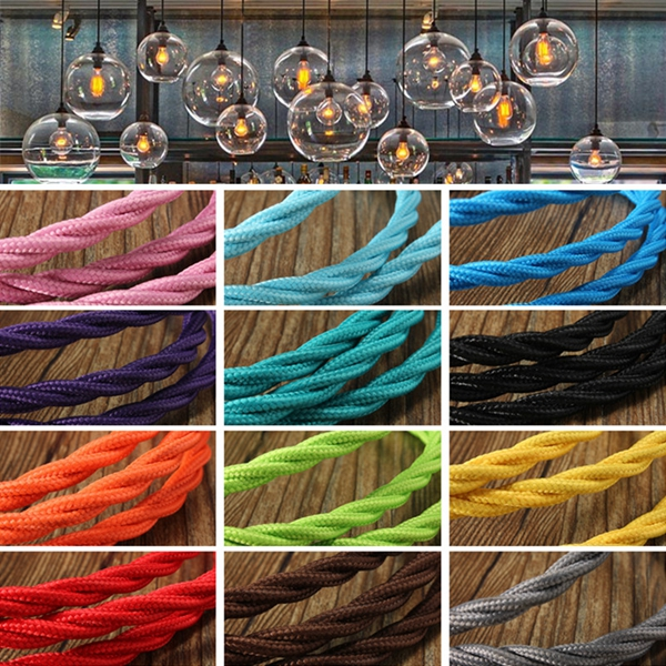 3m Vintage Colored DIY Twist Braided Fabric Flex Cable Wire Cord Electric Light Lamp