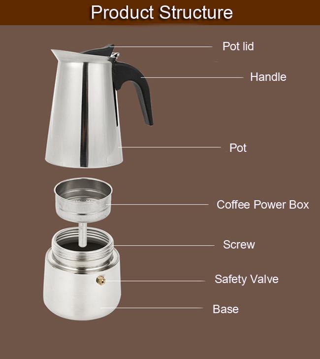 4 Cup 200ml Stainless Steel Moka Espresso Latte Percolator Stove Top Coffee Maker Pot