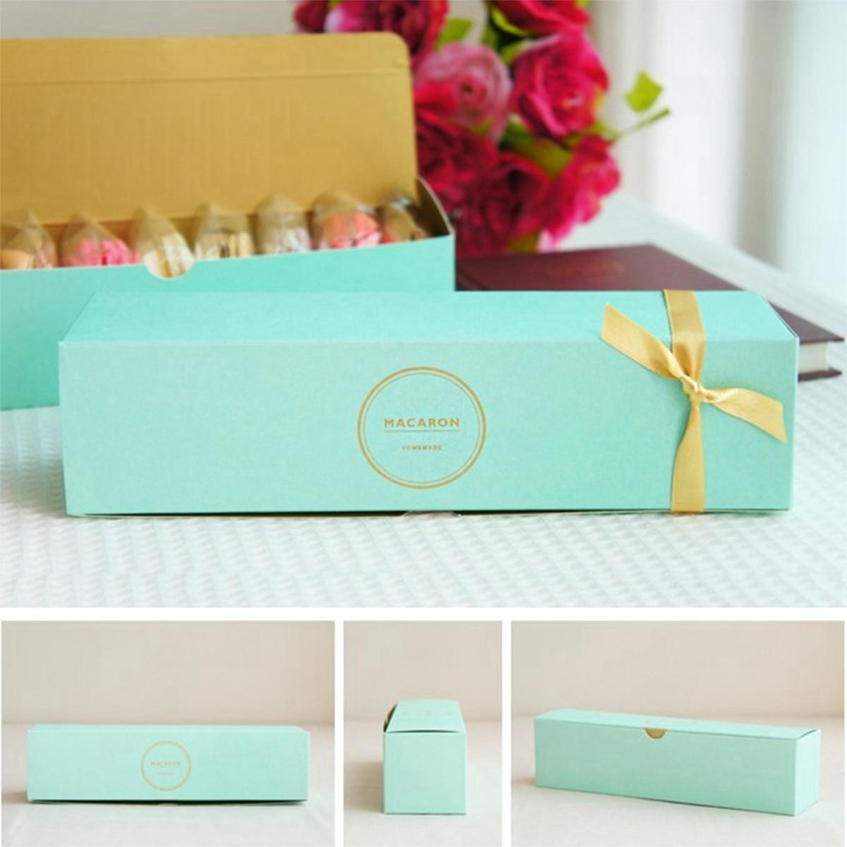 10Pcs Macaron Box Cookie Cake Chocolate Storage Packing Paper Box Wedding Party Gift