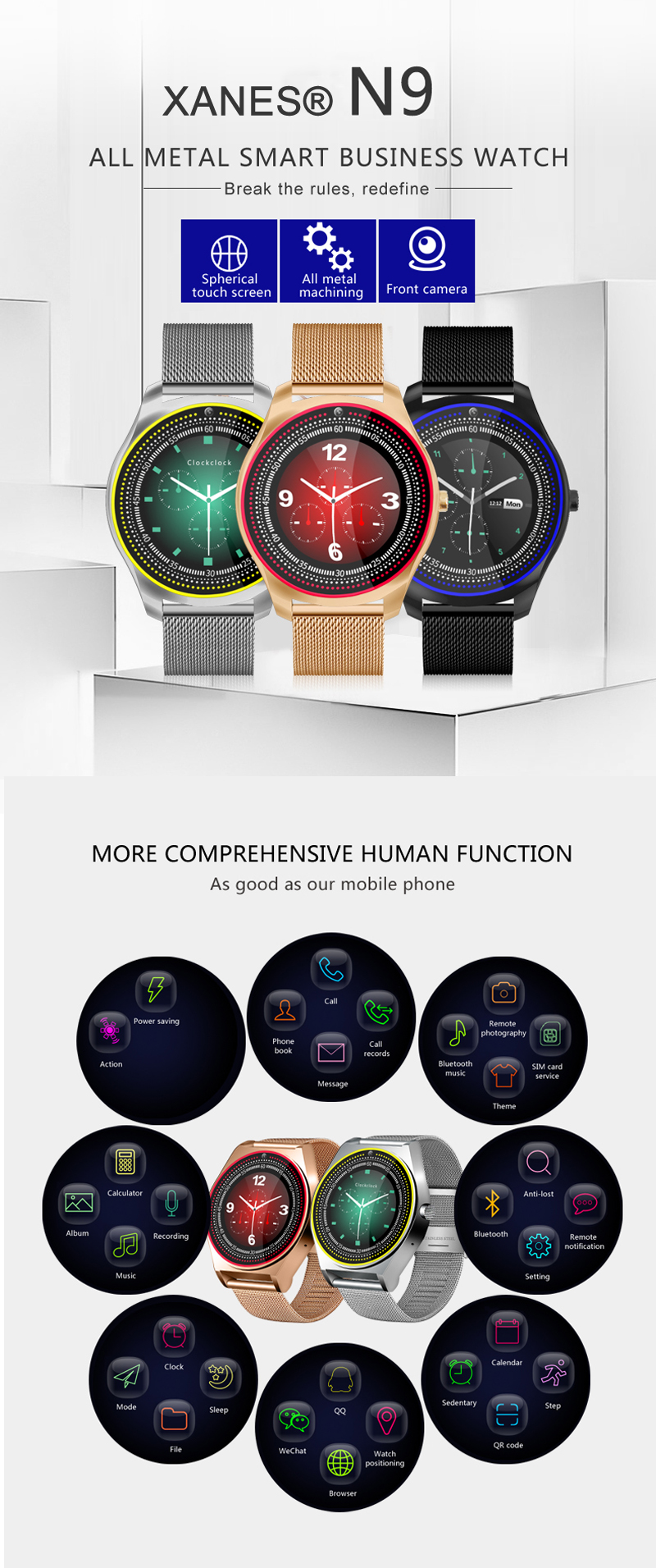 XANES® N9 2G SIM Up To 32G TF Card Support 1.22'' IPS Touch Screen Smart Watch Front Camera Sleep Monitor Fitness Exercise Smart Bracelet