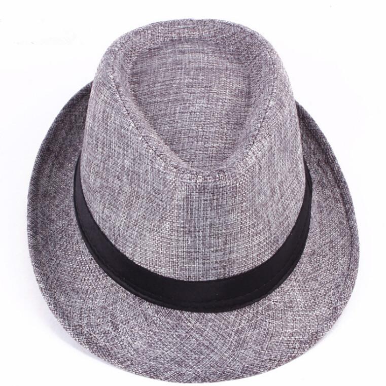 Unisex Men Women Straw Floppy Belt Fedora Hat Derby Beach Trilby Panama Hat
