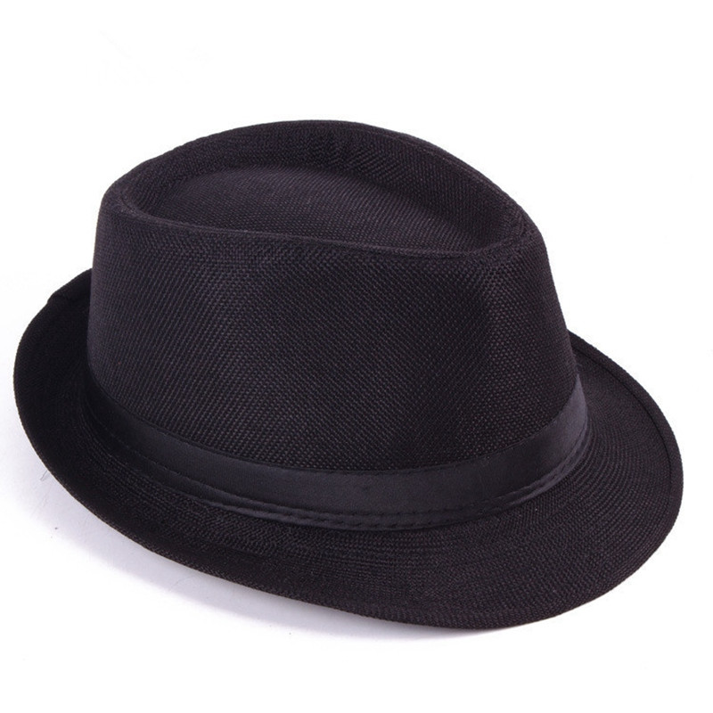 Unisex Men Women Straw Floppy Belt Fedora Hat Derby Beach Trilby Panama Hat