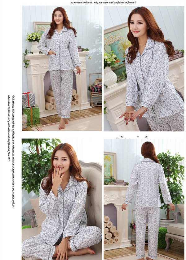 Spring Autumn Woman Comfy Floral Printing Long Sleeve Sleepwear Sets Homewear Pajamas