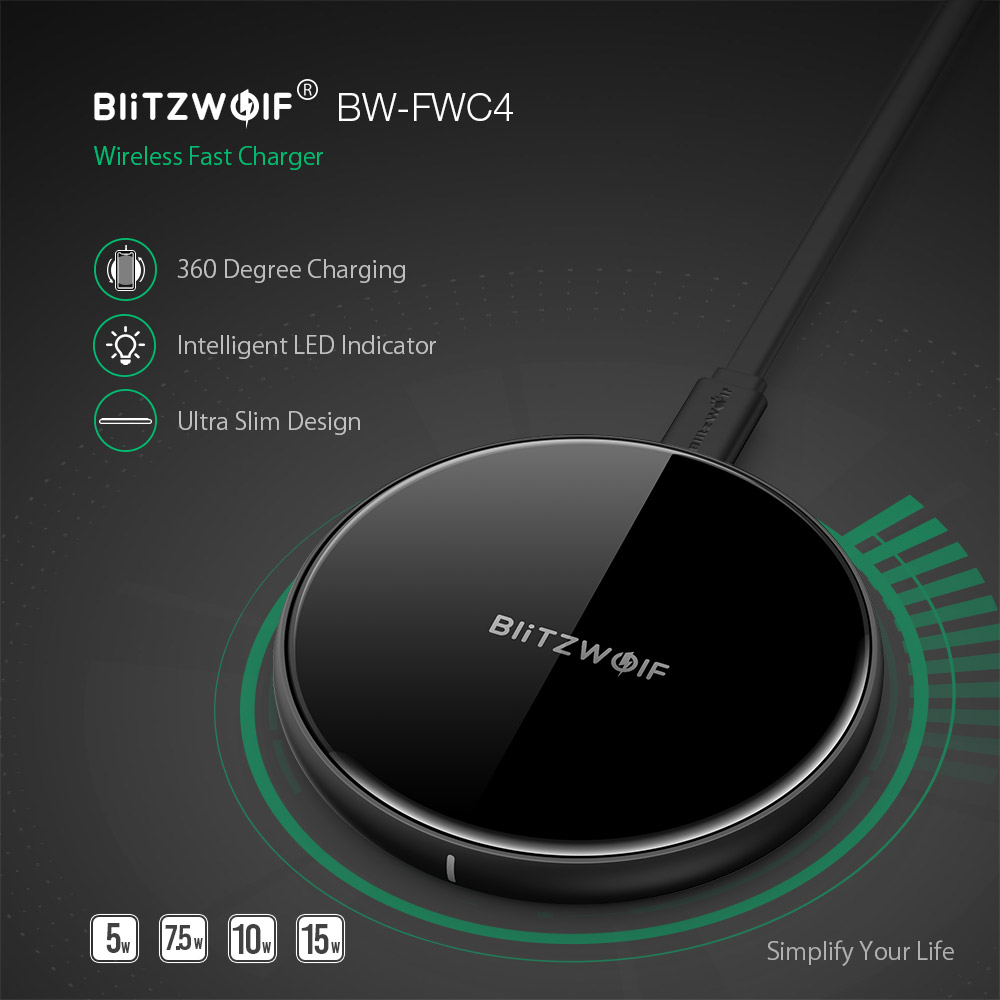 BlitzWolf@ BW-FWC4 5W 7.5W 10W Fast Wireless Charger Charging Pad