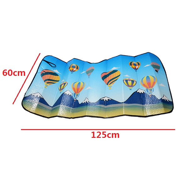 125x60cm Hot Air Balloon Thmed Aluminum Foil Foldable Reflective Car Wind Shield Shade