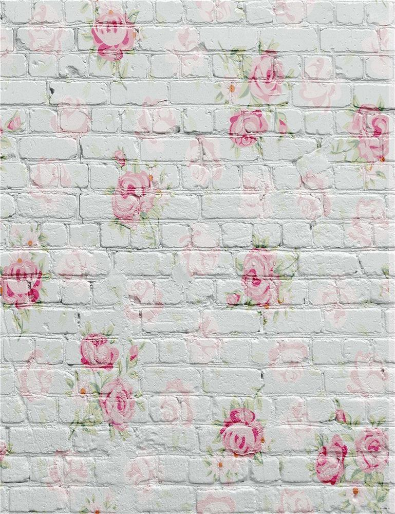 0.9x1.6m Rose Flower Stone Brick Wall Theme Photography Background Vinyl Fabric Studio Backdrop