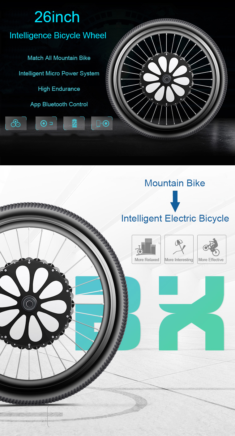 LVBU BX20L 26 inch 36V 250W Intelligent Mountain Bike Wheel DIY Modified E-bike Front Wheel 60km Long Life bluetooth