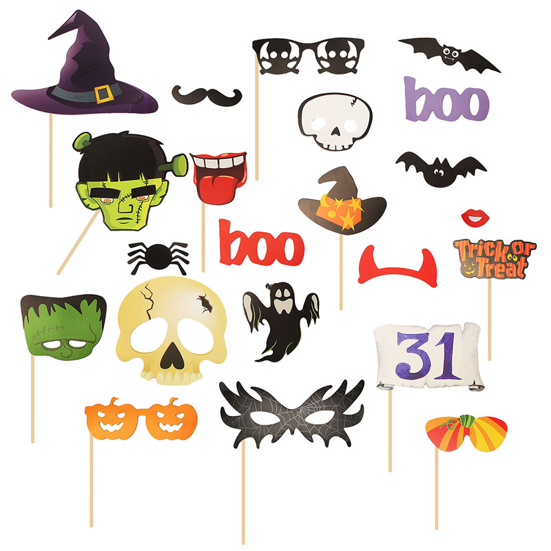 22PCS DIY Photo Booth Mask Mustache Stick Props Halloween Christmas Party Toy