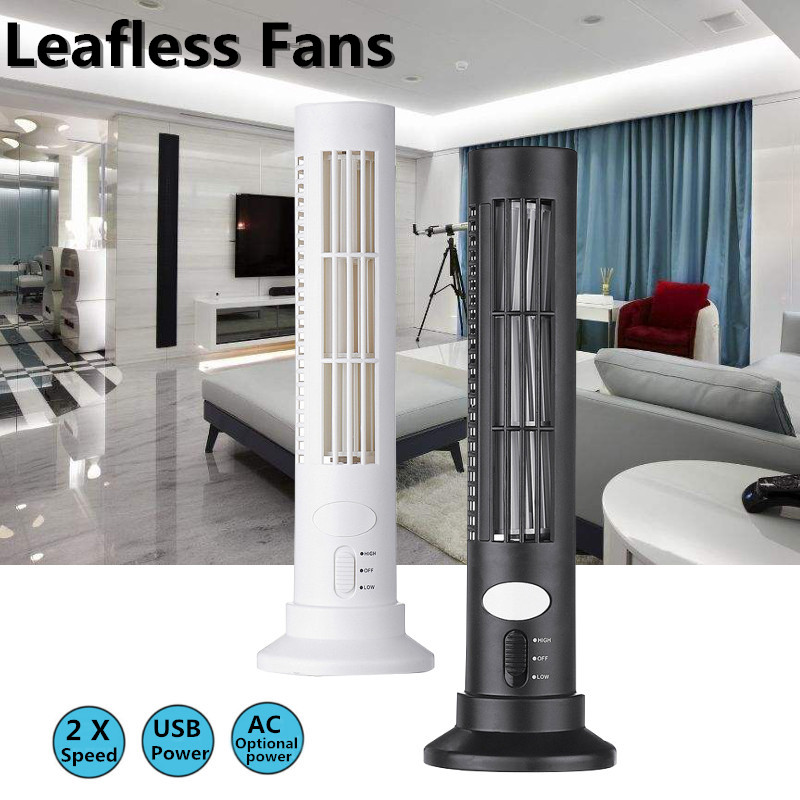 Portable Mini USB Leafless Tower Fan Ultra-quiet Desk Cooling Fan Purifier For Home Computer Office