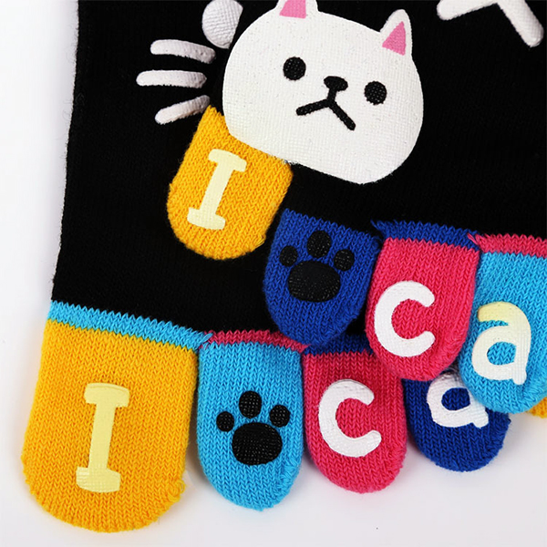 Cute Cartoon Cat Thick Warm Five Toes Socks