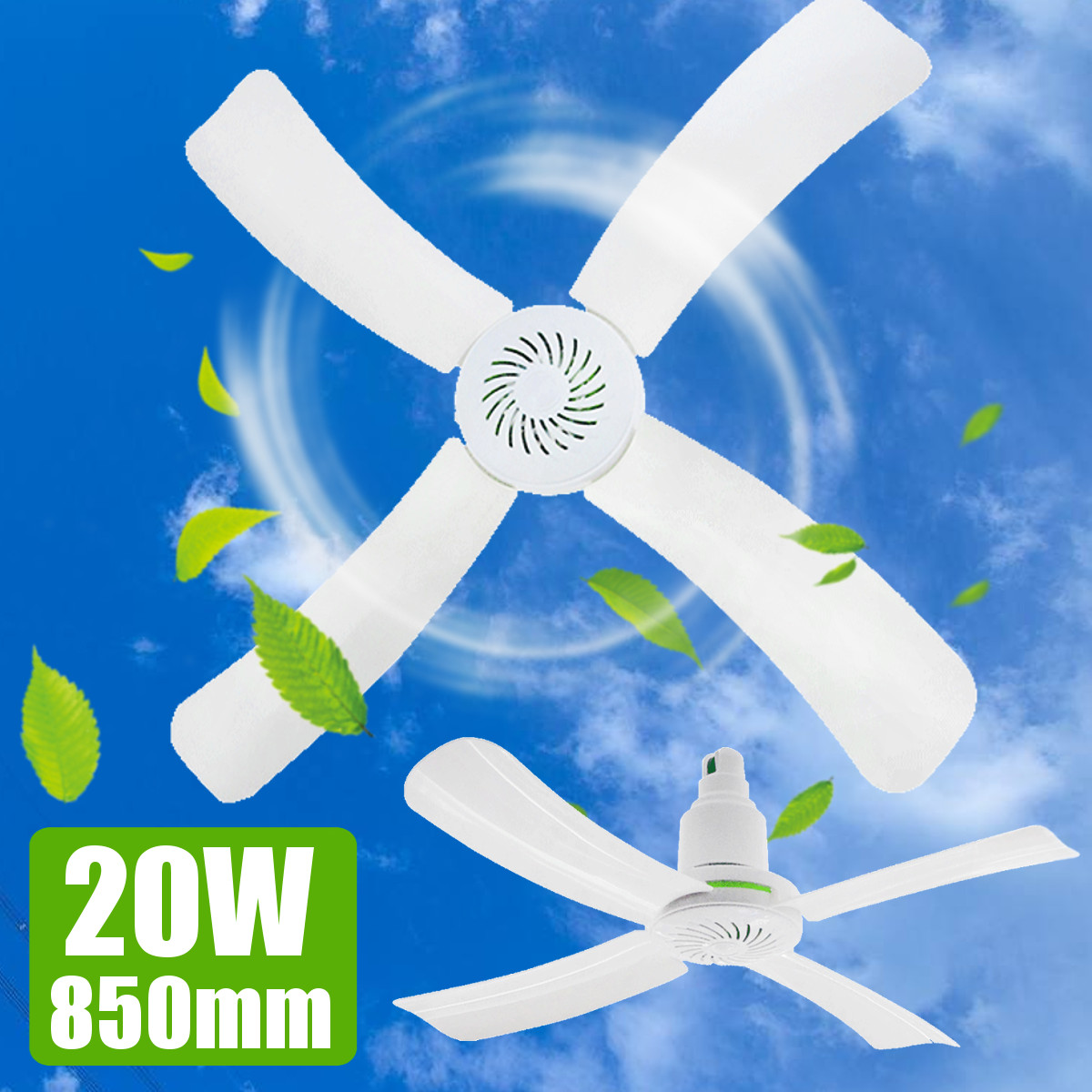 220V 20W Mini Ceiling Fan Portable Air Cooler Home Office Cooling Hanging Conditioner