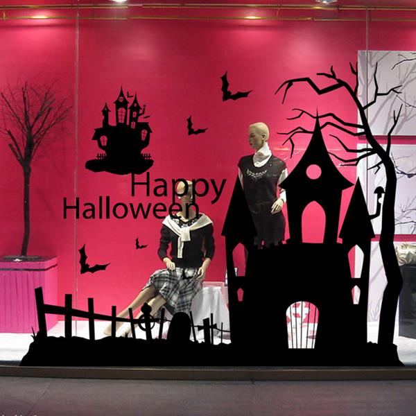 cr ation de halloween maison hant e mur de verre stickers d coration fond sticker mural art chez. Black Bedroom Furniture Sets. Home Design Ideas
