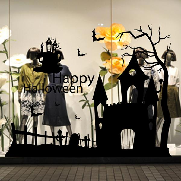 Creative Halloween Haunted House Glass Wall Stickers Background Decoration Sticker Wall Art