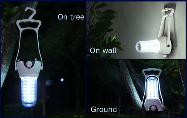 Portable LED Camping Light Lantern Rechargeable Dimmable Hiking Emergency Night Lamp AC220V