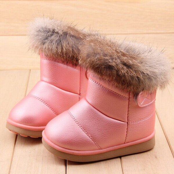 Girls Artificial Fur Lining Plush Snow Boots Warm Soft Soled Winter Shoes