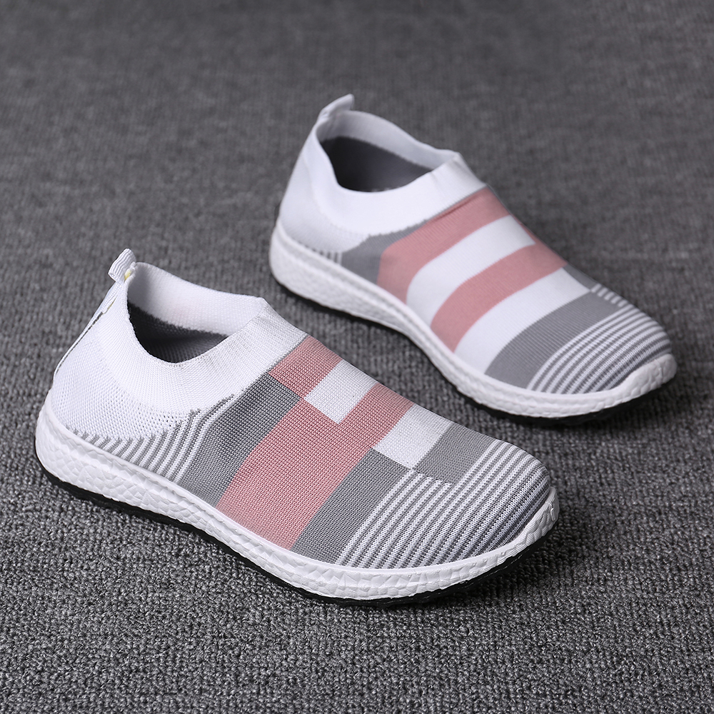 Women Casual Color Stitching Slip On Sneakers