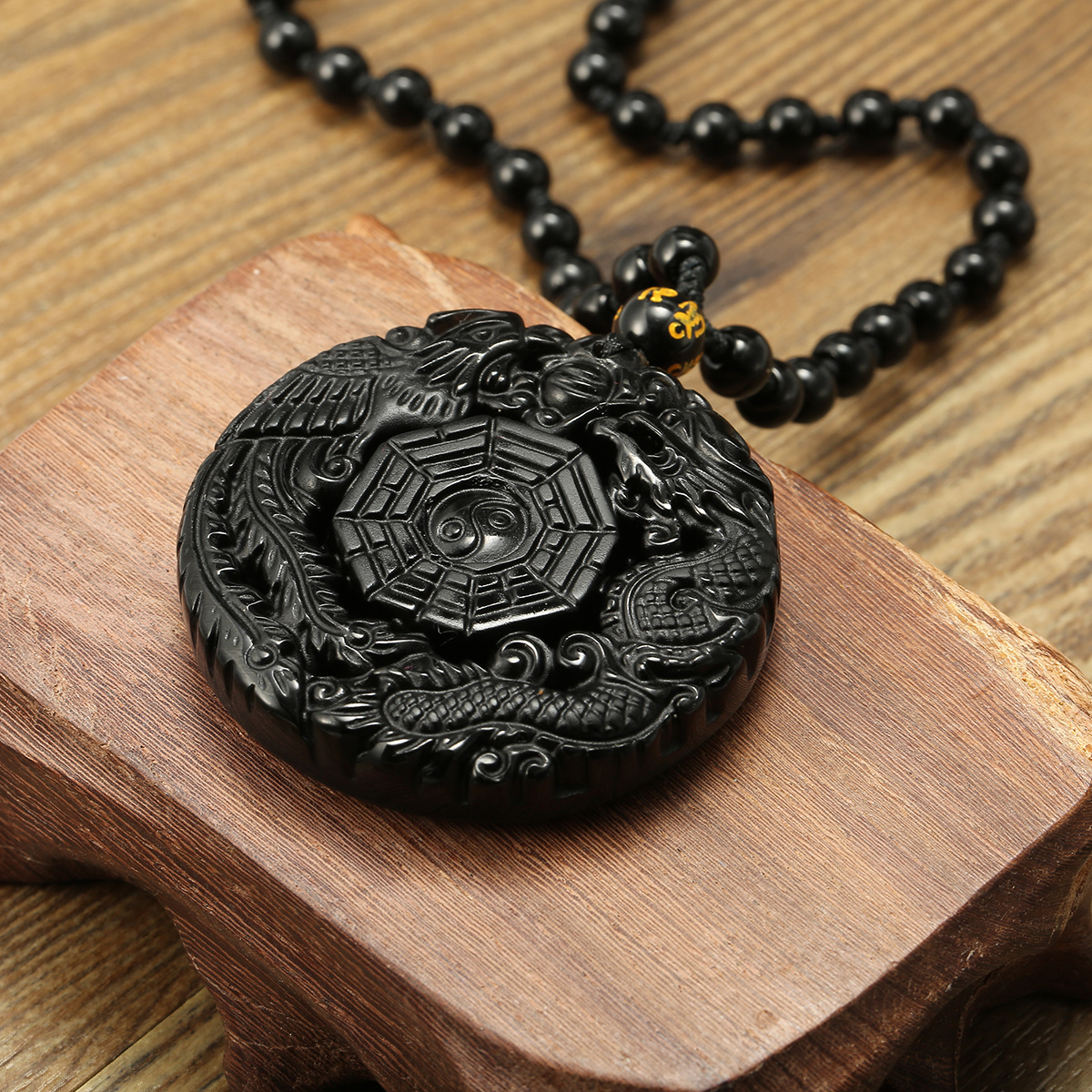 Black Obsidian Lucky Pendant Tai Ji Necklace Chain for Men Women Gift