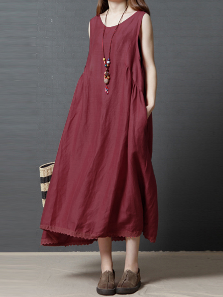 Women Sleeveless Solid Color Swing Lace Hem Maxi Dress