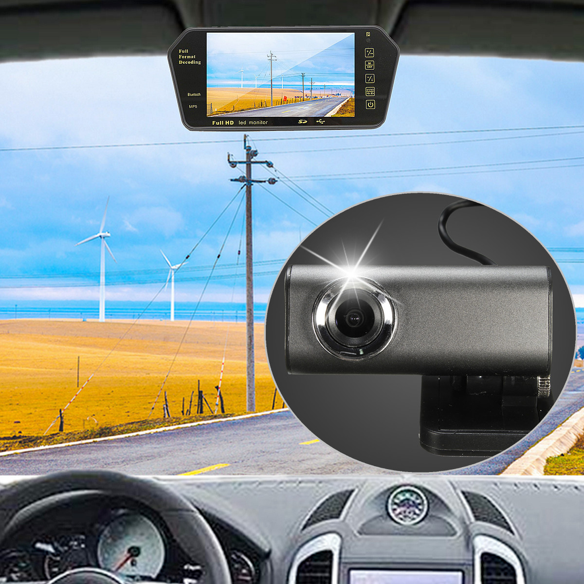 140 Degree Car DVR Video Recorder Camera 1080P HD Dash Cam Rear View Lens For DVD GPS