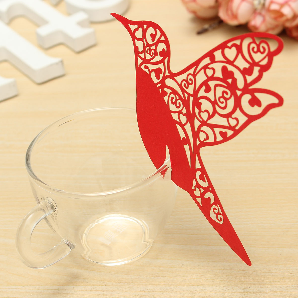 10Pcs Laser Cut Hummingbird Glass Place Cards Ivory Wedding Party Favor Accessories