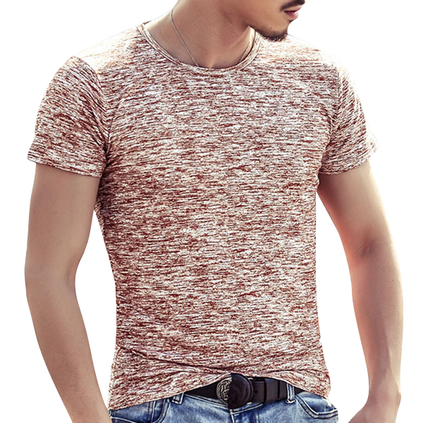 Summer Mens Cotton Breathable Solid Color Tops