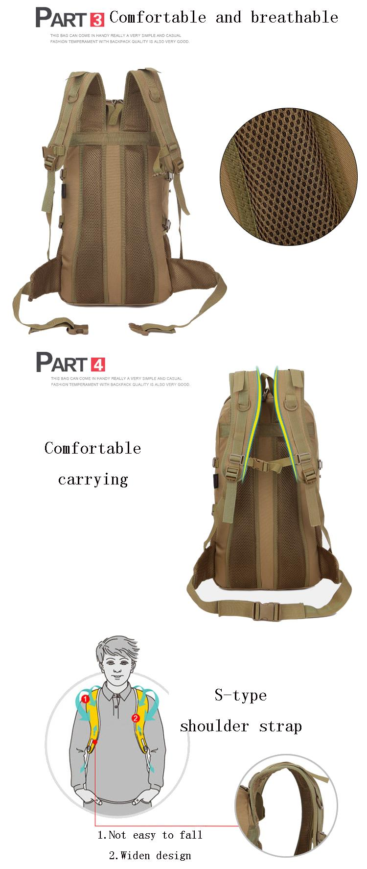 FAITH PRO Men 55L Backpack Unisex Large Nylon Military Waterproof Camouflage Tactical Travel Camping