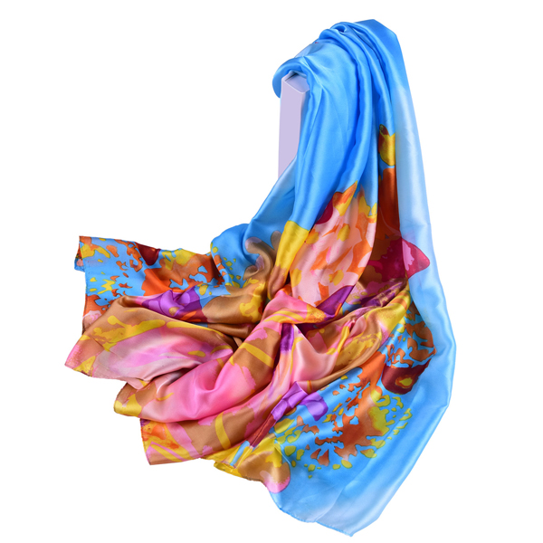LYZA Women Long Flower Print Beach Shawl Casual Outdoor Anti-UV Soft Scarves