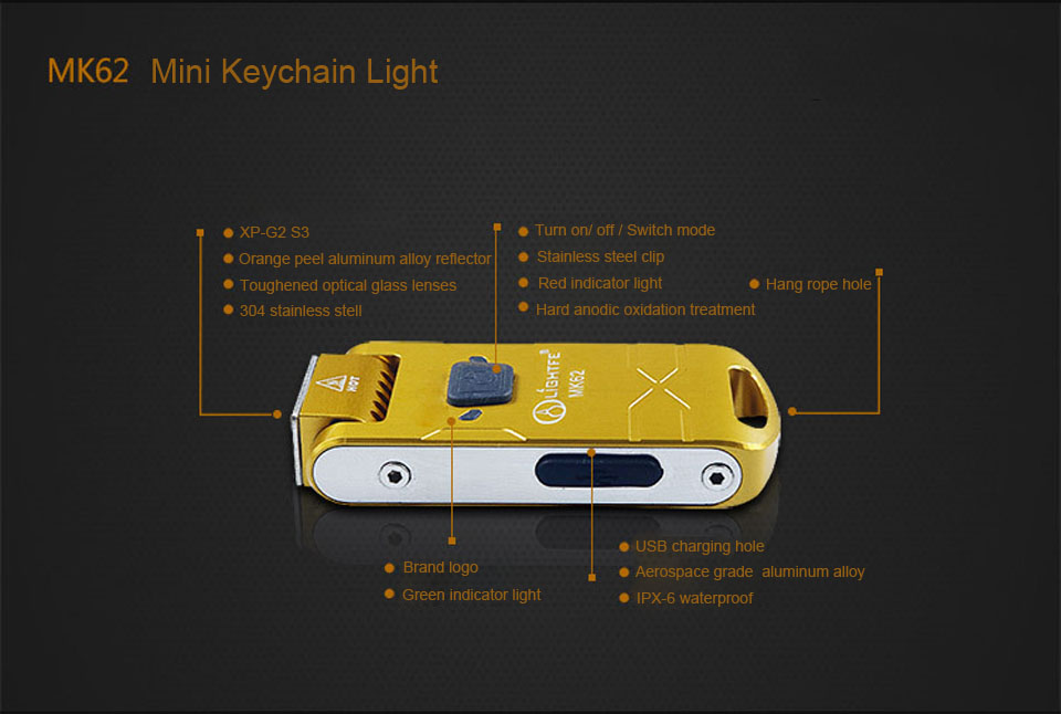 LightFe MK62 XP-G2 S3 280LM 3Modes 180° Adjustable Head USB Rechargeable Mini Keychain Light EDC Flashlight