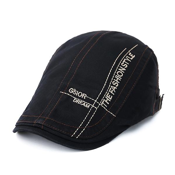 Men Cotton Letter Beret Caps Outdoor Buckle Adjustable Sport Newsboy Hat
