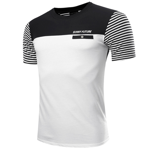 Mens Striped Printing Contrast Color Letters Fashion Casual Tees Cotton Short Sleeve T-shirt