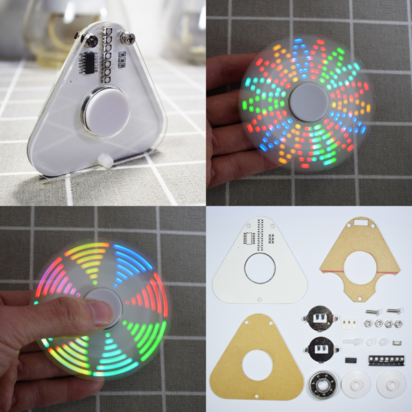 Geekcreit® DIY Round Triangle LED POV Rotation Hand Spinner SMD Learning Kit