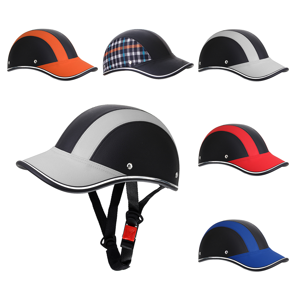 Motorcycle PU Leather Helmet Half Open Face With Chopper Cruiser Visor