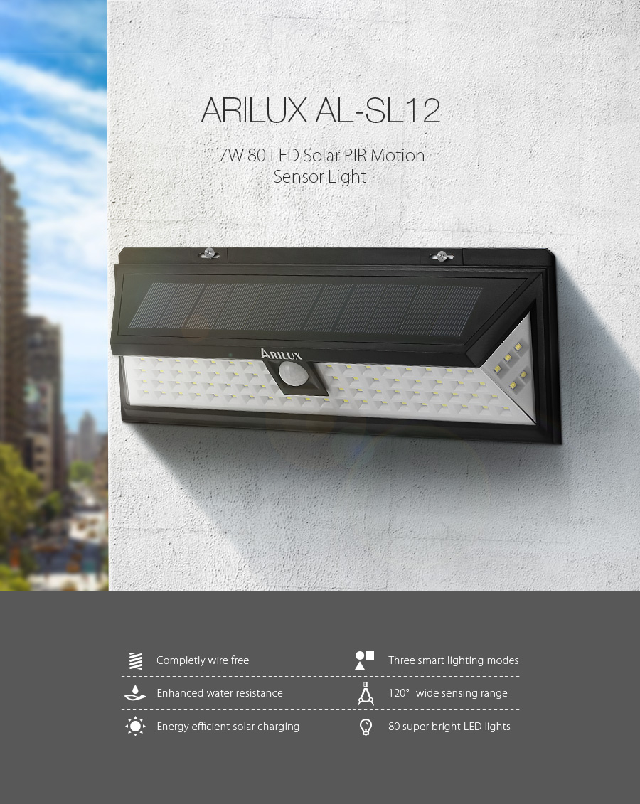 ARILUX® PL-SL 12 Solar Power 7W 80 LED PIR Sensor Light Outdoor Waterproof IP65 Wide Angle Wall Lamp
