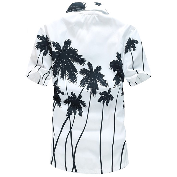 Mens Coconut Tree Printing Polyester Hawaiian Short Sleeve Quick-dry Casual Beach Shirt