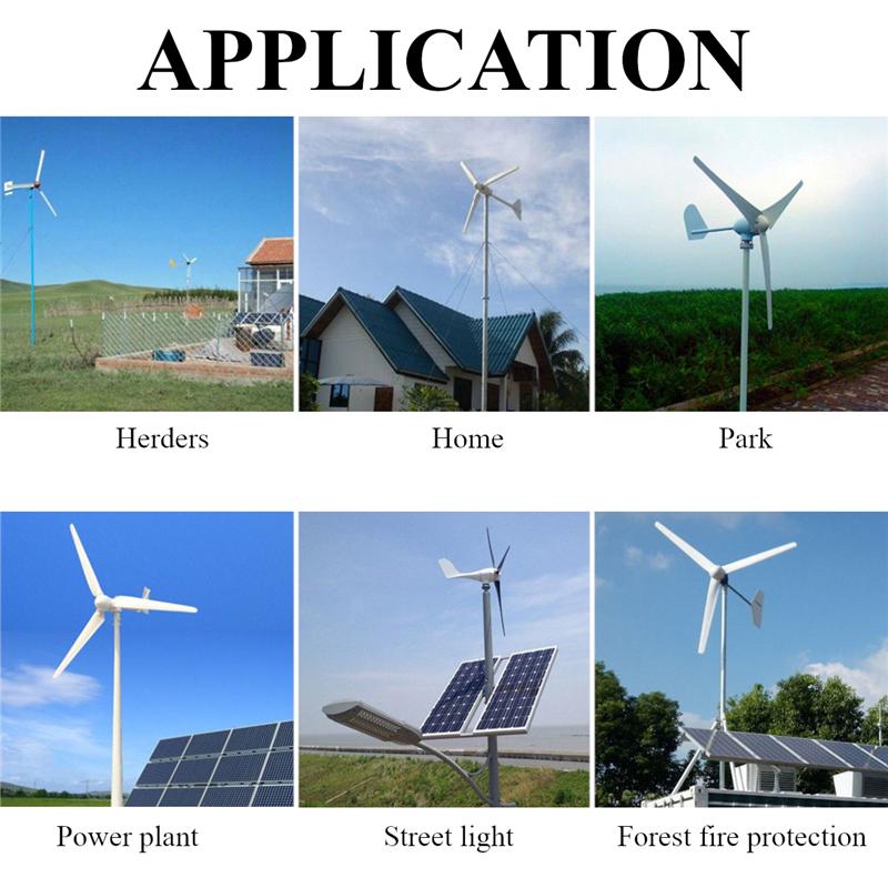 Generatore eolico a turbina da 1200 W 12V / 24V 3/5 Blades con kit generatore eolico per regolatore di carica
