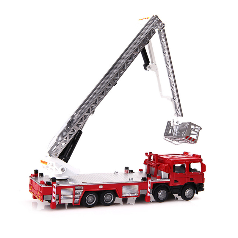 1:50 Scale Diecast Aerial Fire Truck Construction Vehicle Cars Model Toy