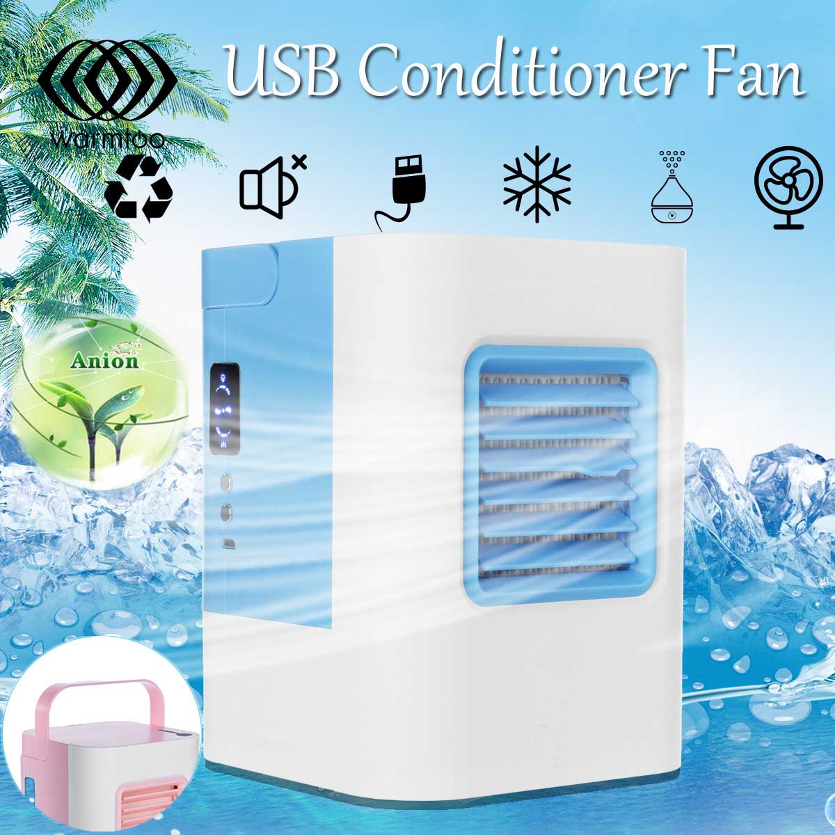 USB Conditioner Fan Refrigeration Air Personal Space Cooler Portable Air Conditioner Cooling Fan