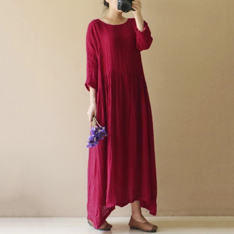 Women Vintage Cotton Linen Baggy Maxi Dress