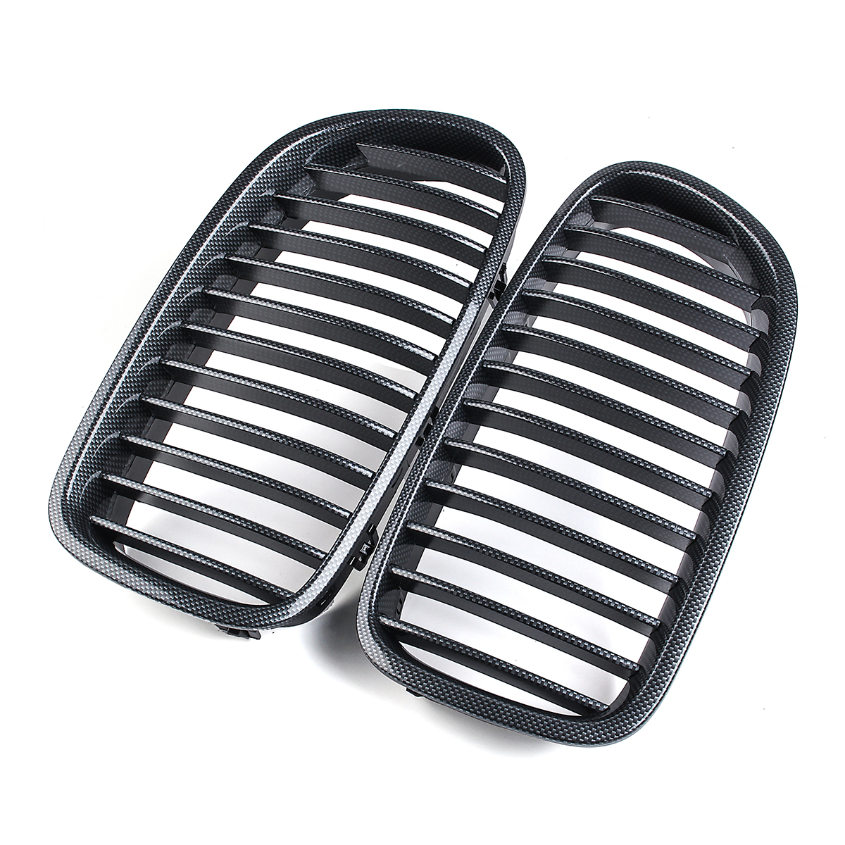 Pair Carbon Fiber ABS Front Kidney Grille For BMW F18 F10 F11 5 Series 2010-2016