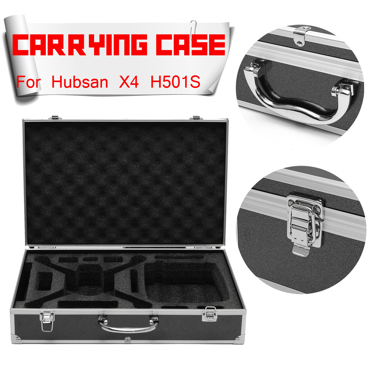 Waterproof Aluminum Case Handy Bag Carry Box For Hubsan X4 H501S FPV Quadcopter Carrying Case