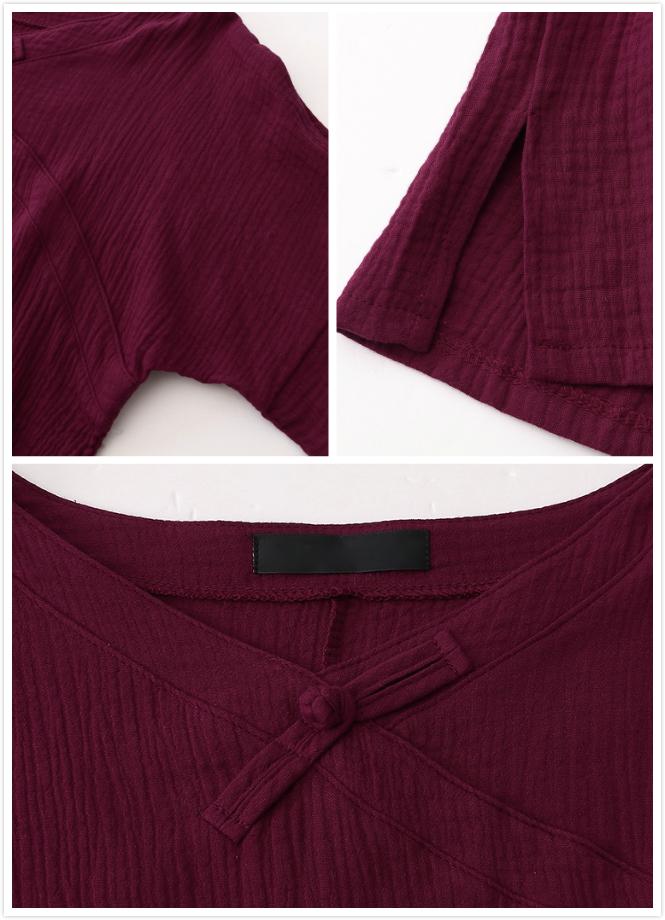M-5XL Vintage V-Neck Solid Color Blouse