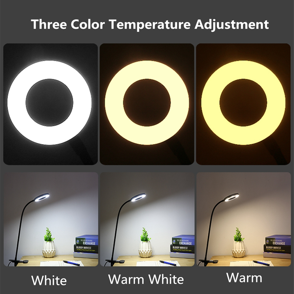 Creative 7W LED USB Dimmable Clip On Work Reading Light Eye-care Desk Table Lamp