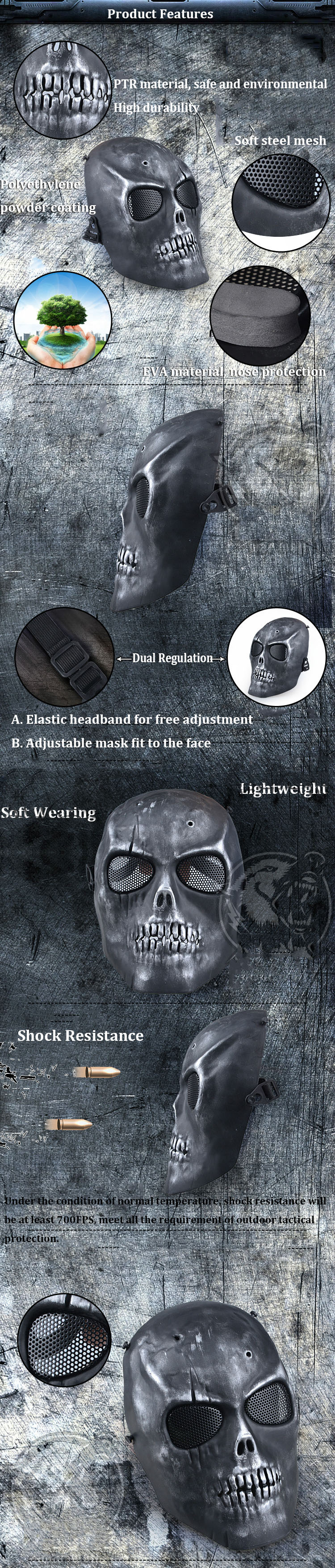 Outdooors CS Protection Mask Full Face Guard War Game Airsoft Paintball Skull Masque