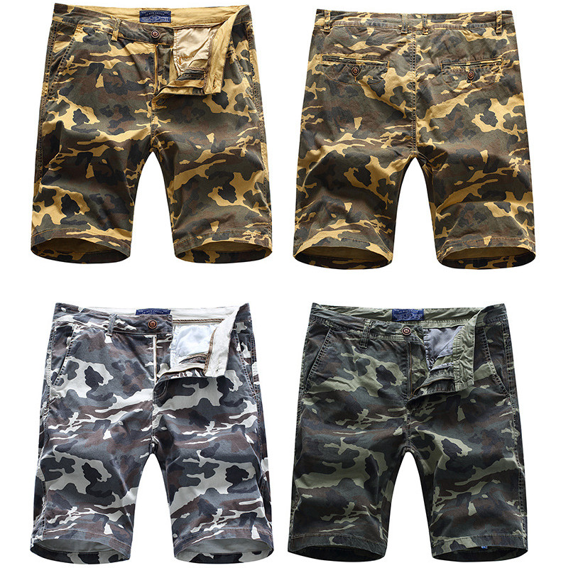 Male Cotton Washed Camouflage Military Cargo Shorts Summer Casual Multi Pocket Straight Shorts