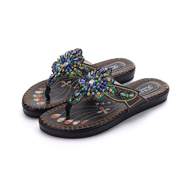 Handmade Embroidery Flat Sandals Beach Slipper Shoes