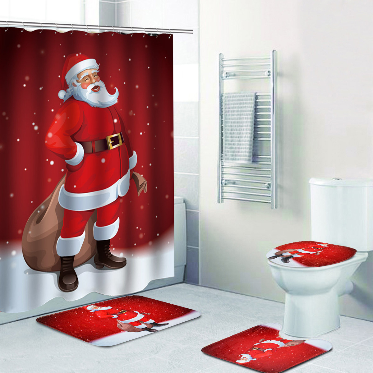 Merry Christmas Decor Toilet Seat Covers Sets For Home Santa Claus Pattern Waterproof Bathroom Decor