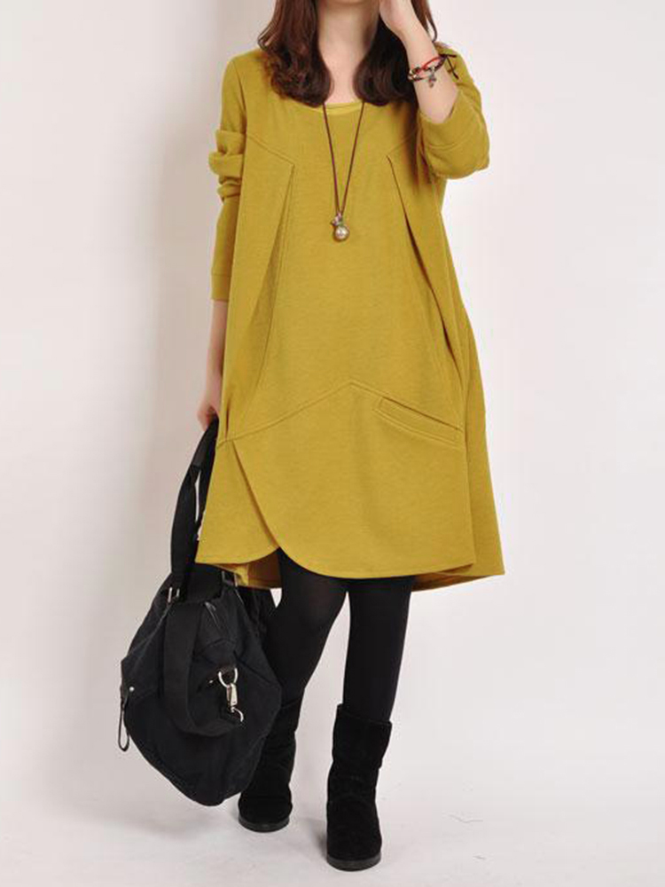 Women Pure Color O-neck Irregular Dress