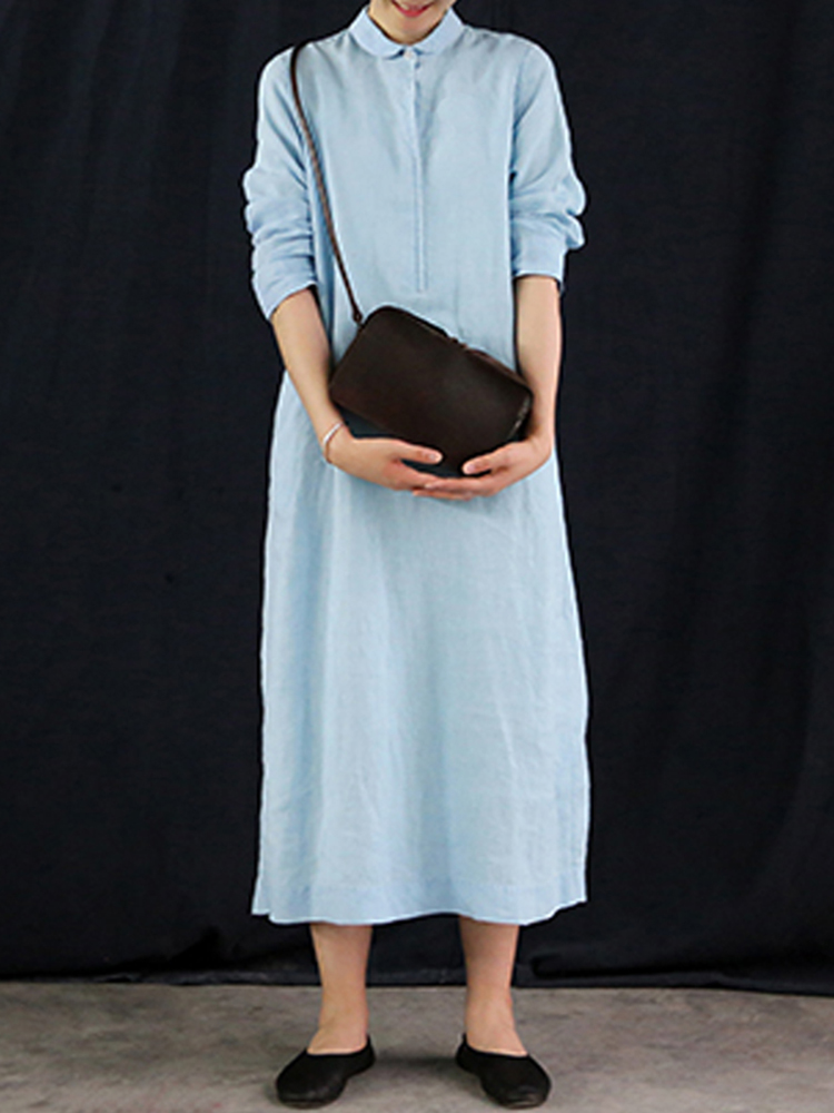 Women Loose Pure Color Lapel Long Sleeve A Line Dress