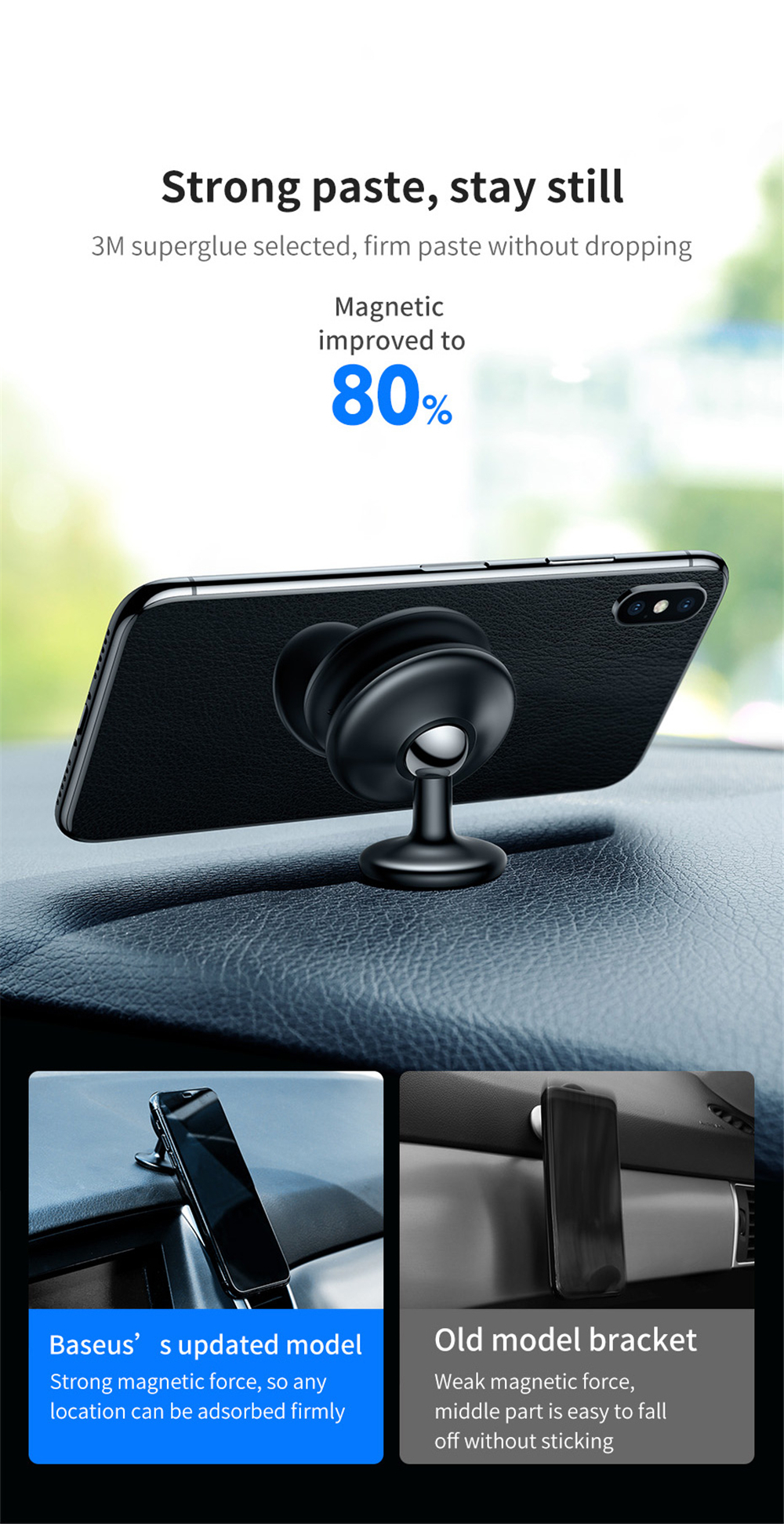 Baseus Magnetic Car Phone Holder 360 Degree Rotation for iPhone XS Max Sticker Dashboard Stand